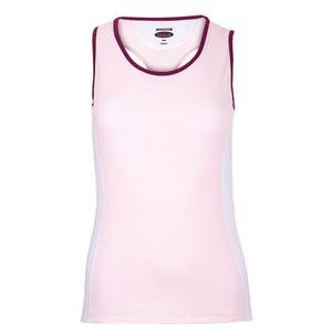 Women`s A Cut Above Racerback Tennis Tank Blush and White