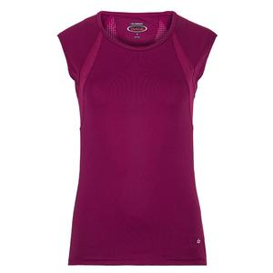 Women`s A Cut Above Cap Sleeve Tennis Top Plum