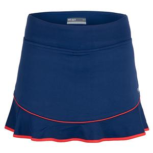 Women`s Axel Tennis Skort Midnight Blue and Rio Red