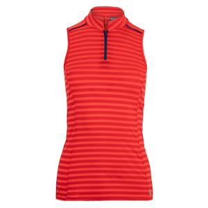 Women`s Slice Tennis Top Rio Red and Midnight Blue