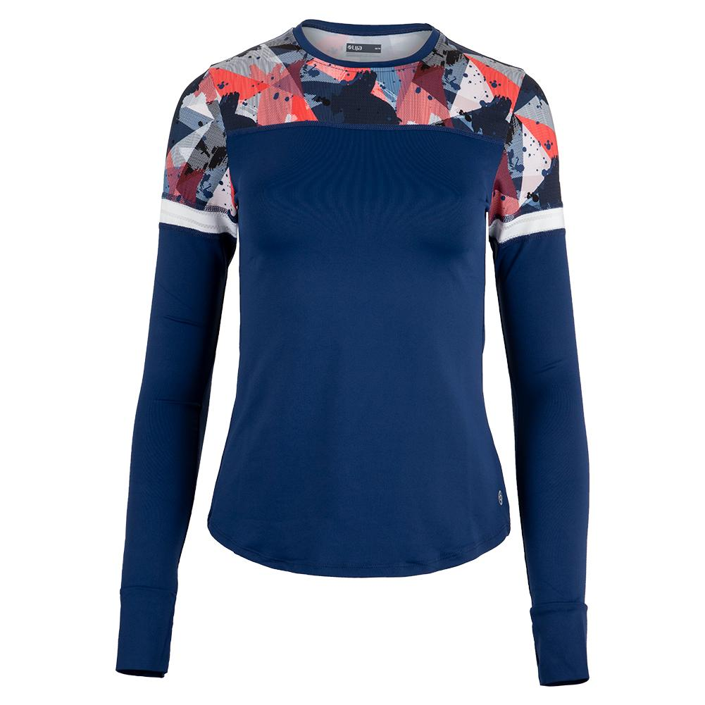 Women's Pacer Tennis Top Midnight Blue And Mixed Media