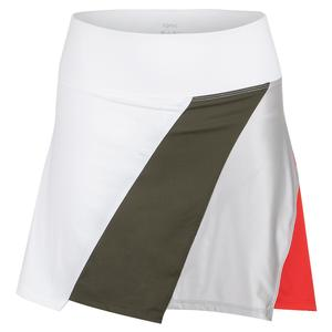 Women`s Juniper 15 Inch Tennis Skort White and Green