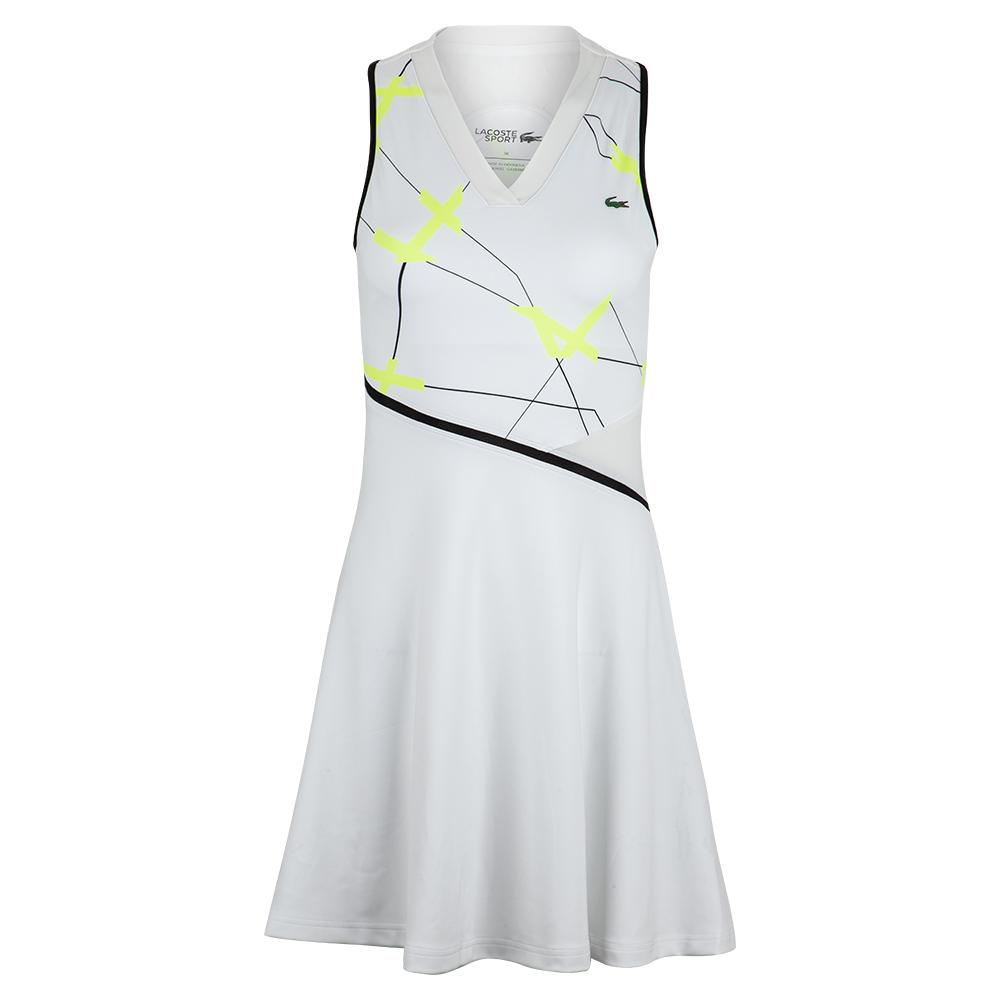 Women's Printed Performance Tennis Dress White And Fluo Zest