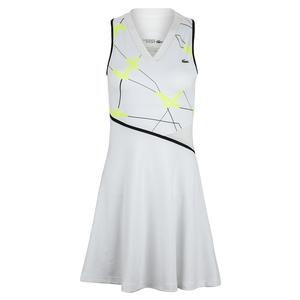 Women`s Printed Performance Tennis Dress White and Fluo Zest