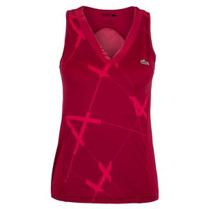 Women`s Printed Tri-Fabric Tennis Tank Bordeaux and Clafoutis