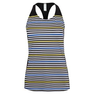 Women`s News Flash Racerback Tennis Tank Print and Black