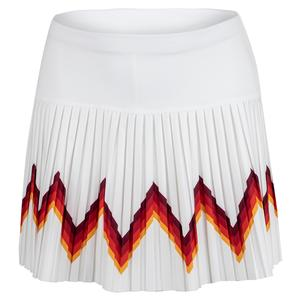 Women`s Long Groovy Pleated Tennis Skort White