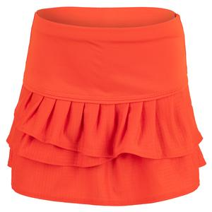 Girls` Pleat Tier Tennis Skort Crimson