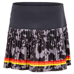 Girls` Camo Groove Pleated Tennis Skort Charcoal