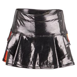 Girls` Metallic Groovy Stripe Flip Tennis Skort Gunmetal