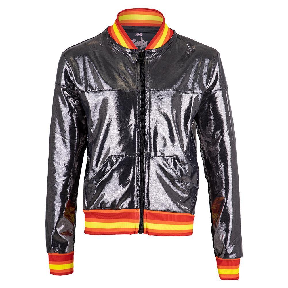 Girls ` Metallic Groovy Stripe Bomber Tennis Jacket Charcoal