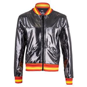 Girls` Metallic Groovy Stripe Bomber Tennis Jacket Charcoal