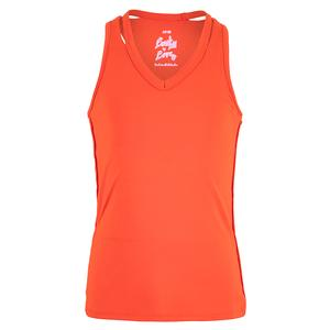 Girls` V-Neck Cutout Tennis Tank Crimson