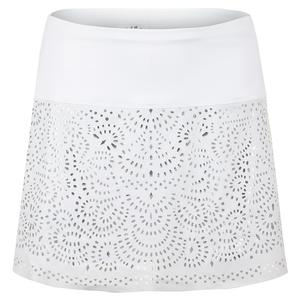 Women`s Long Laser Shine Tennis Skort White and Silver