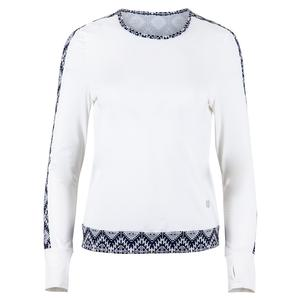 Women`s Up Swing Long Sleeve Tennis Top White and Iman Print