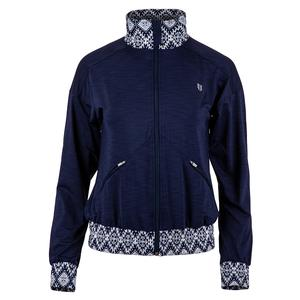 Women`s On Track Tennis Jacket Blue Nights and Iman Print