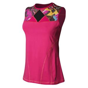 Women`s Sleeveless Tennis Top Amore and Tribe Print