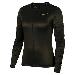 Women`s Dry Miler Shine Long Sleeve Top Black and Refective Gold