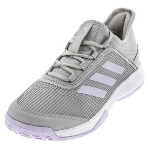 Juniors` Adizero Club K Tennis Shoes Gray Two and Purple Tint