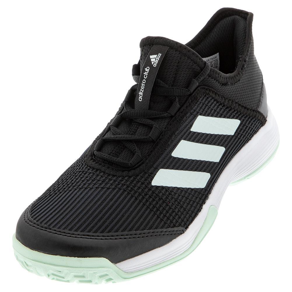 Juniors ` Adizero Club K Tennis Shoes Core Black And Dash Green