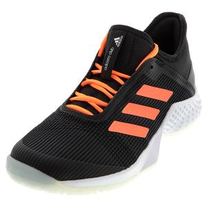 Men`s Adizero Club 2 Tennis Shoes Core Black and Signal Coral