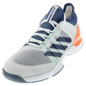 Men`s Adizero Ubersonic 2.0 Tennis Shoes White and Tech Indigo