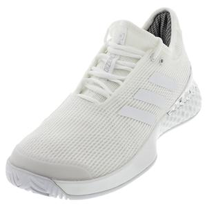 Men`s Adizero Ubersonic 3 Tennis Shoes White and Silver Metallic
