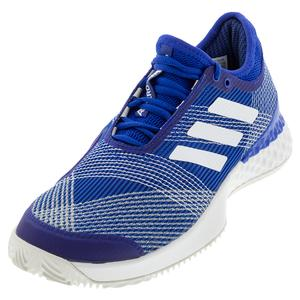 Men`s Adizero Ubersonic 3 Clay Tennis Shoes Team Royal Blue and White