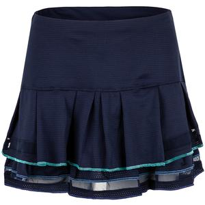 Women`s Long Mesh Pleat Tier Tennis Skort Midnight