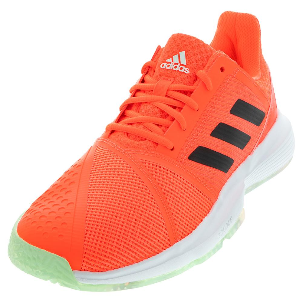 Men's Courtjam Bounce Tennis Shoes Dash Green And Signal Coral