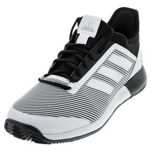 Men`s Adizero Defiant Bounce 2 Tennis Shoes Core Black and White