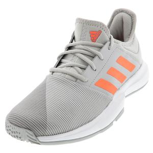 Men`s GameCourt Tennis Shoes Gray Two and Signal Coral
