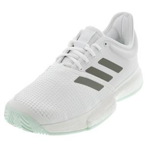 Men`s SoleCourt Boost Tennis Shoes White and Legacy Green