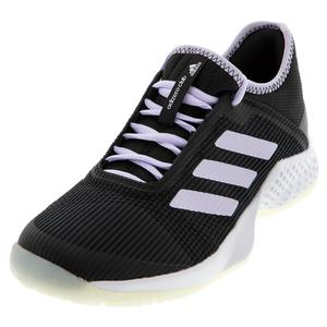 Women`s Adizero Club 2 Tennis Shoes Core Black and Purple Tint