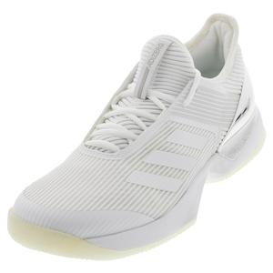 Women`s Adizero Ubersonic 3 Tennis Shoes White and Matte Silver