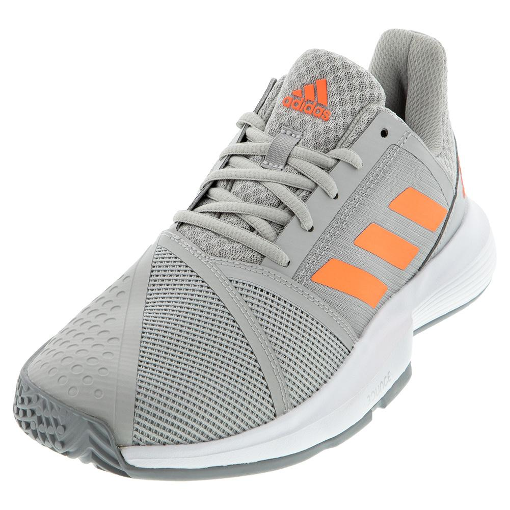 Women's Courtjam Bounce Tennis Shoes Gray Two And Signal Coral