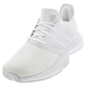 Women`s GameCourt Wide Tennis Shoes White and Dash Gray