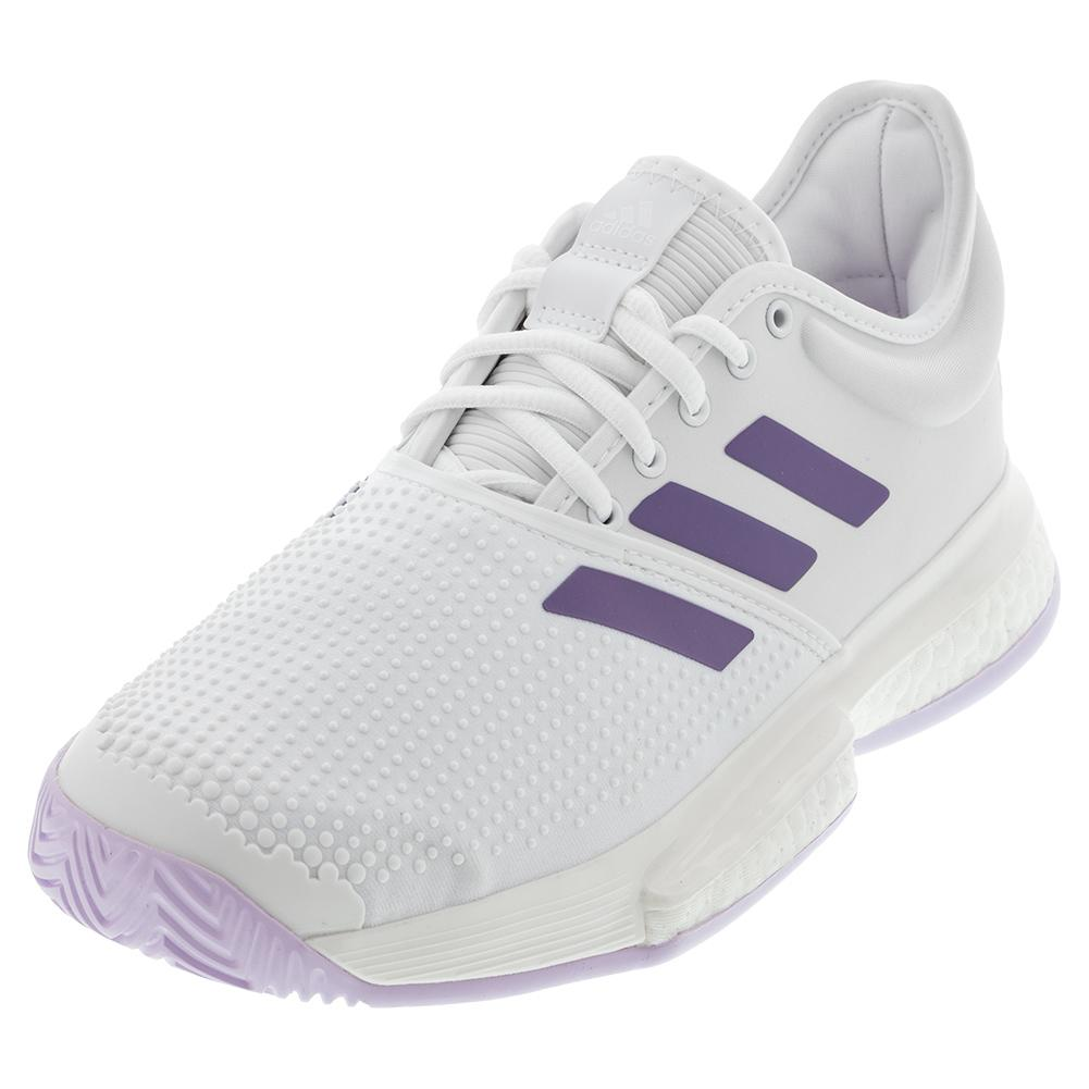 Women's Solecourt Boost Tennis Shoes White And Tech Purple