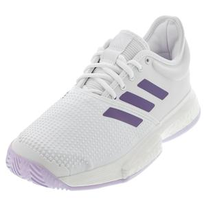 Women`s SoleCourt Boost Tennis Shoes White and Tech Purple