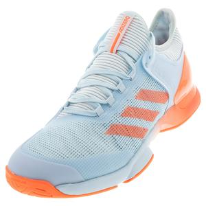 Men`s Adizero Ubersonic 2 Tennis Shoes Sky Tint and Signal Coral
