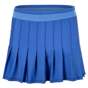 Women`s Long Retro Pleated Tennis Skort Parisian Blue