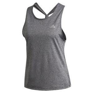 Women`s Club Tie Tennis Tank Dark Grey Heather and Matte Silver