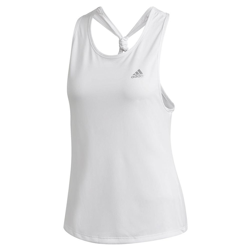 Women's Club Tie Tennis Tank White And Matte Silver