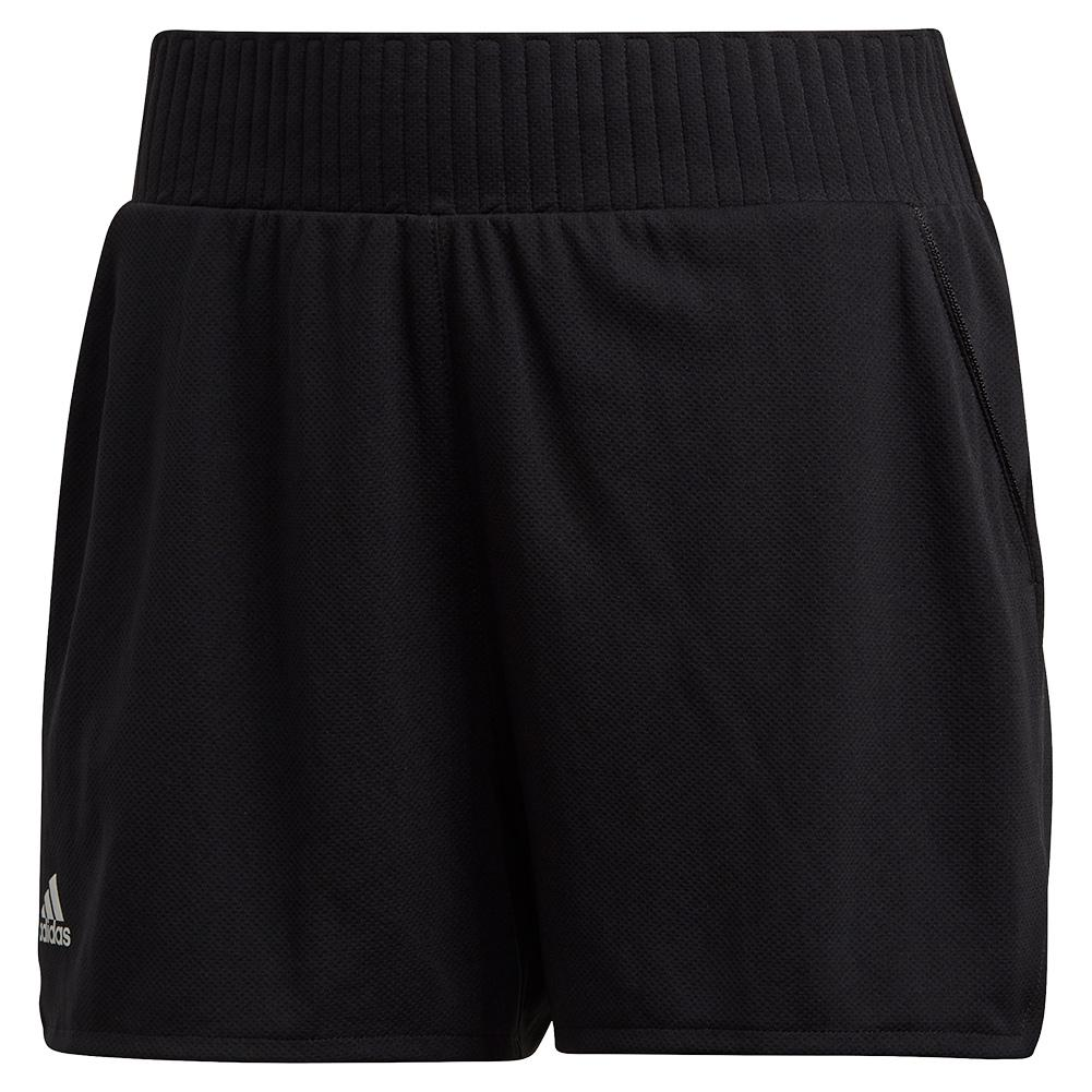 Women's Club High- Rise 4 Inch Tennis Short Black And Matte Silver