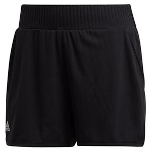 Women`s Club High-Rise 4 Inch Tennis Short Black and Matte Silver