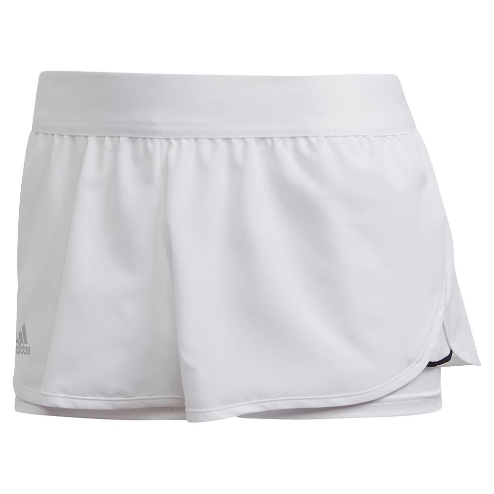 Women's Club 2.5 Inch Tennis Short White And Matte Silver