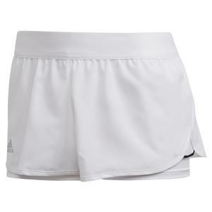 Women`s Club 2.5 Inch Tennis Short White and Matte Silver