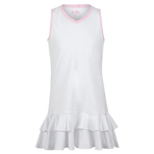 Girls` Double Ruffle Tennis Dress White