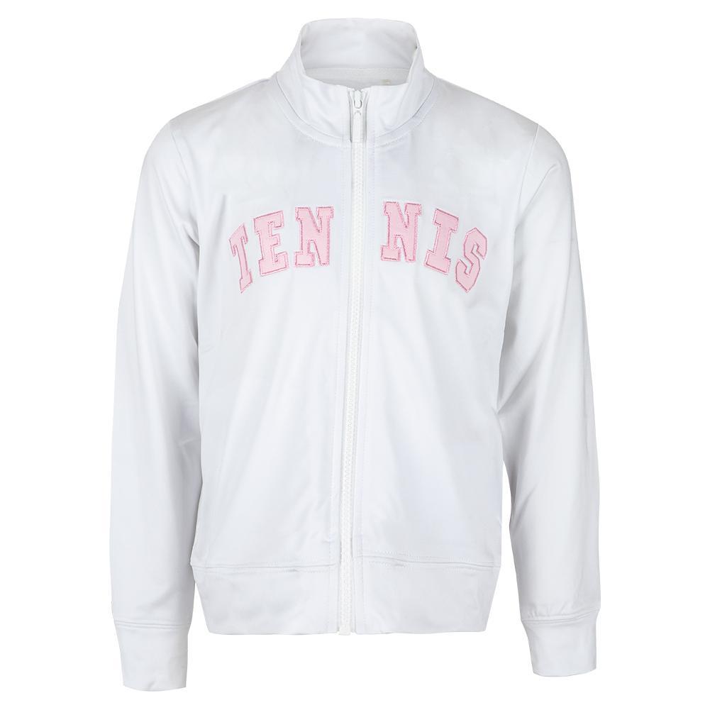 Girls ` Long Sleeve Tennis Jacket White