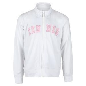 Girls` Long Sleeve Tennis Jacket White